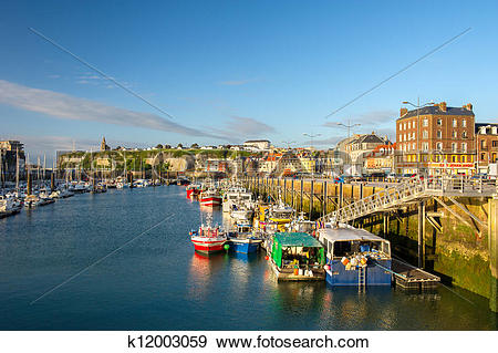 Stock Photograph of French coast village Dieppe k12003059.