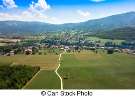 Pictures of Aerial view of french countryside north Yonne.
