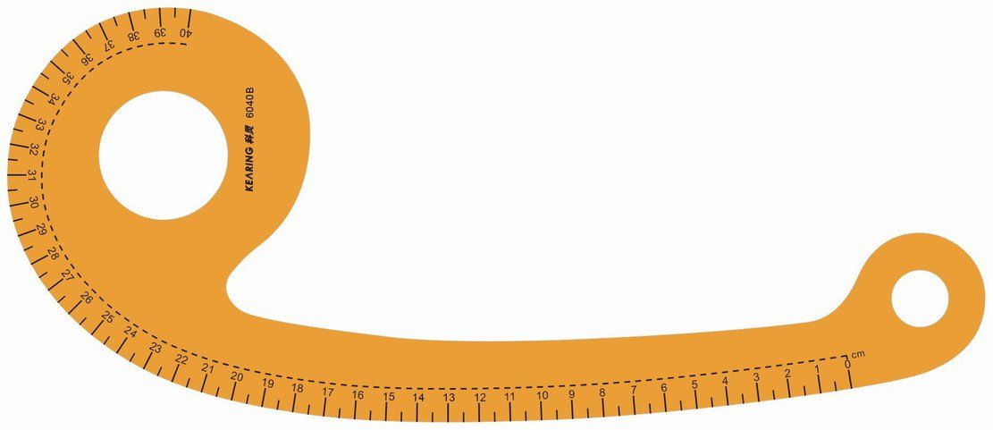 french curve sewing, armhole curve, yellow transparent 40cm.