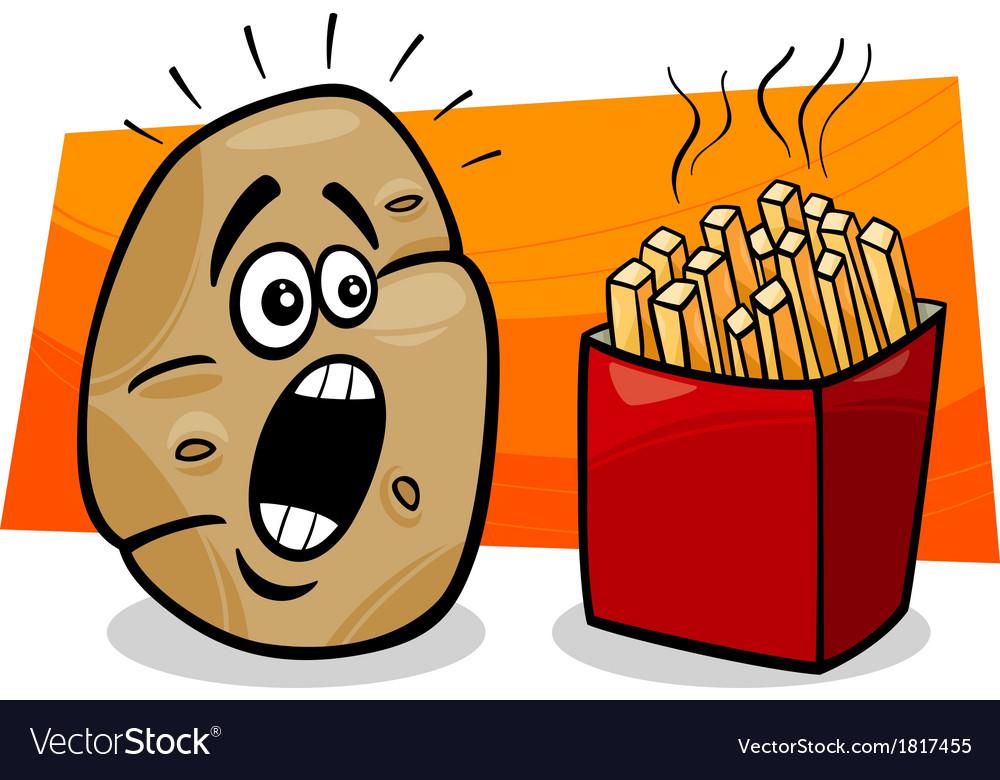 Potato with french fries cartoon.