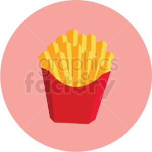 french fries vector flat icon clipart with circle background . Royalty.