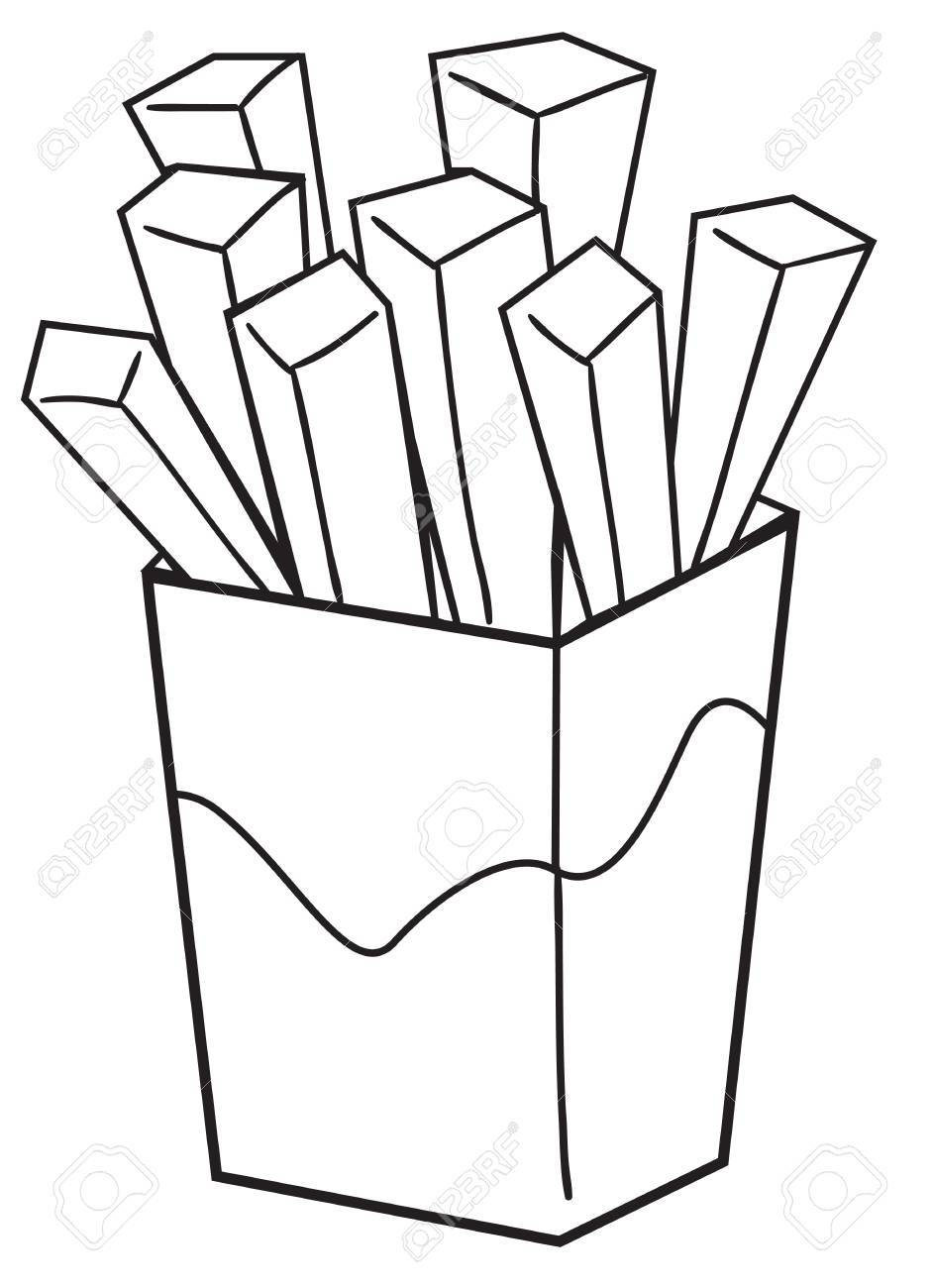 Vector illustration of a french fries in black and white outlined...
