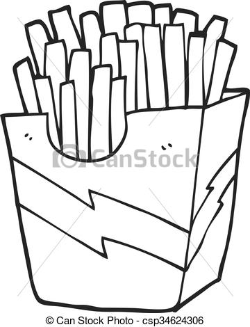 black and white cartoon french fries.