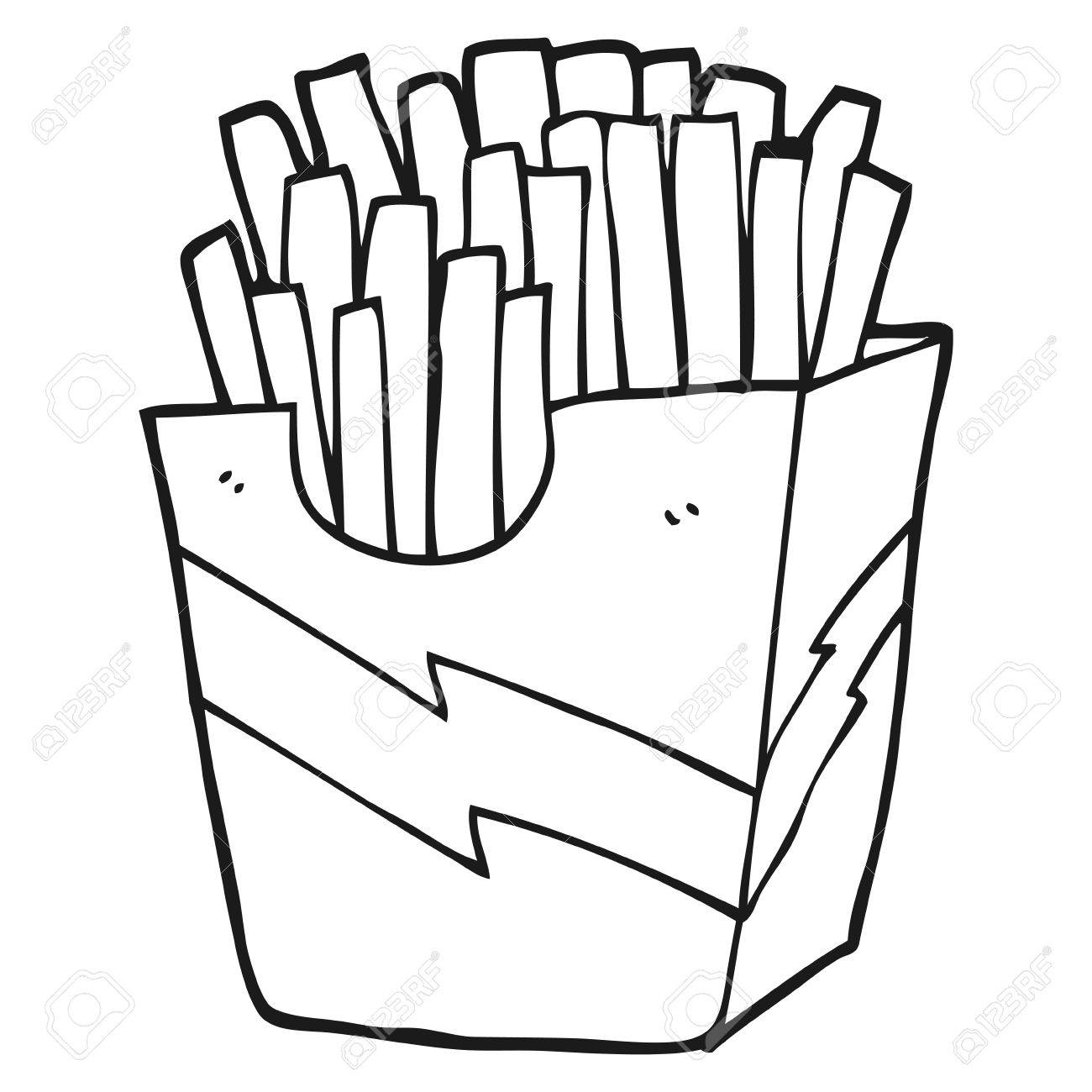 Black and white cartoon french fries » Clipart Station.
