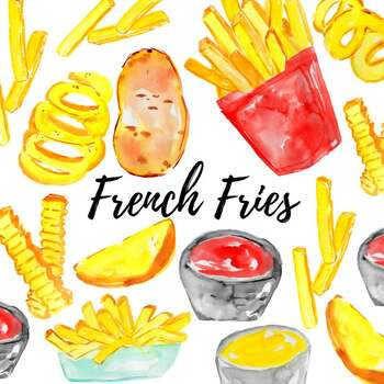 Watercolor fast food french fry clipart.
