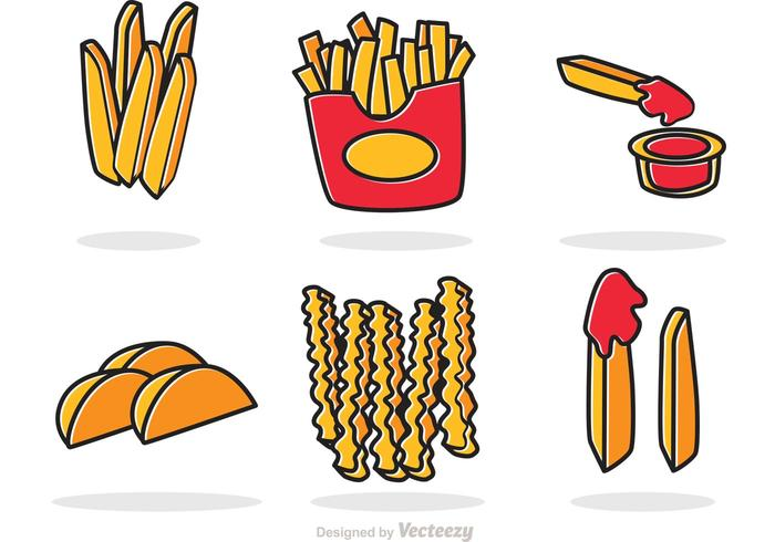 Set Of French Fries Vector.