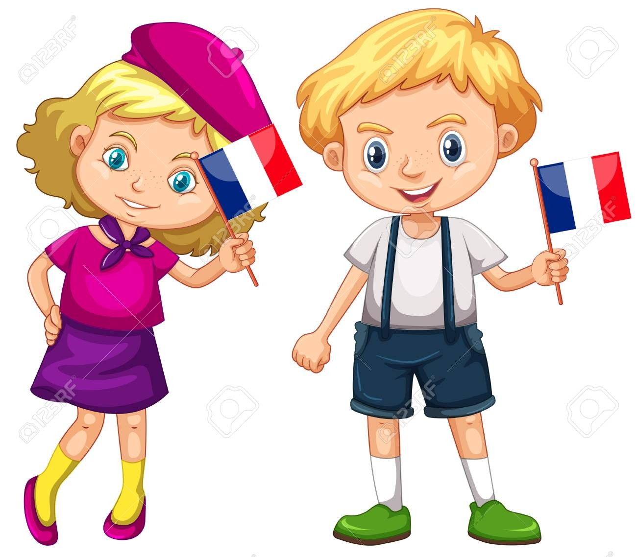 On Clipart French Girl 79459915 Boy And Holding Flag Of France.