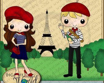 french boy and girl clipart.