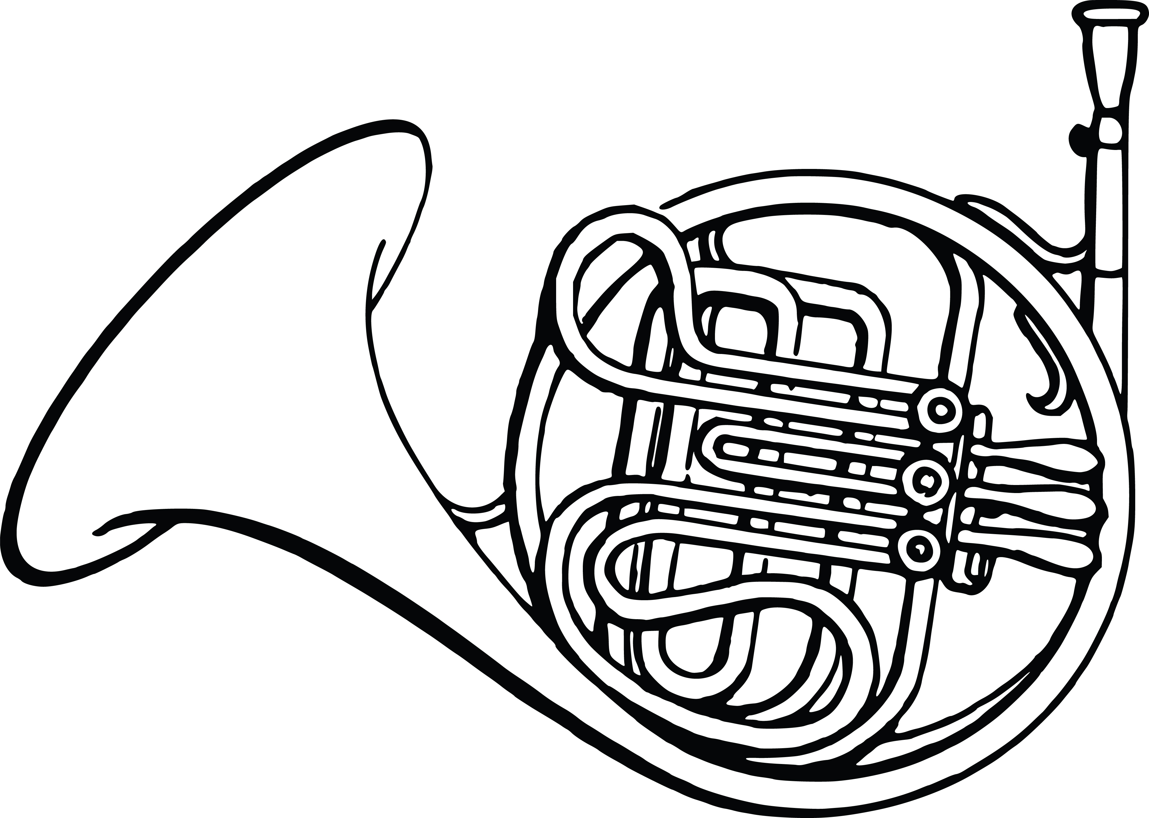 Free Clipart Of A french horn.