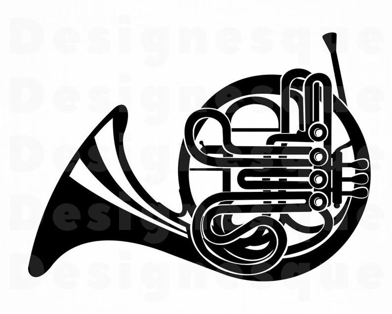 French Horn SVG, French Horn Clipart, French Horn Files for Cricut, French  Horn Cut Files For Silhouette, French Horn Dxf, Png, Eps, Vector.
