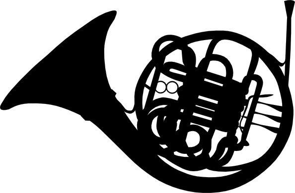 French Horn Silhouette clip art Free vector in Open office.