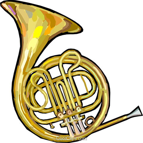 French horn Royalty Free Vector Clip Art illustration.