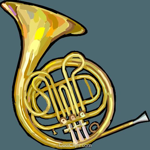 French horn Royalty Free Vector Clip Art illustration.