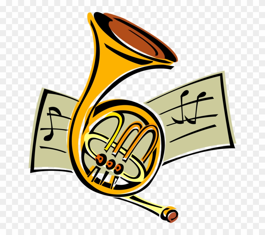 Vector Illustration Of French Horn Brass Musical Instrument.