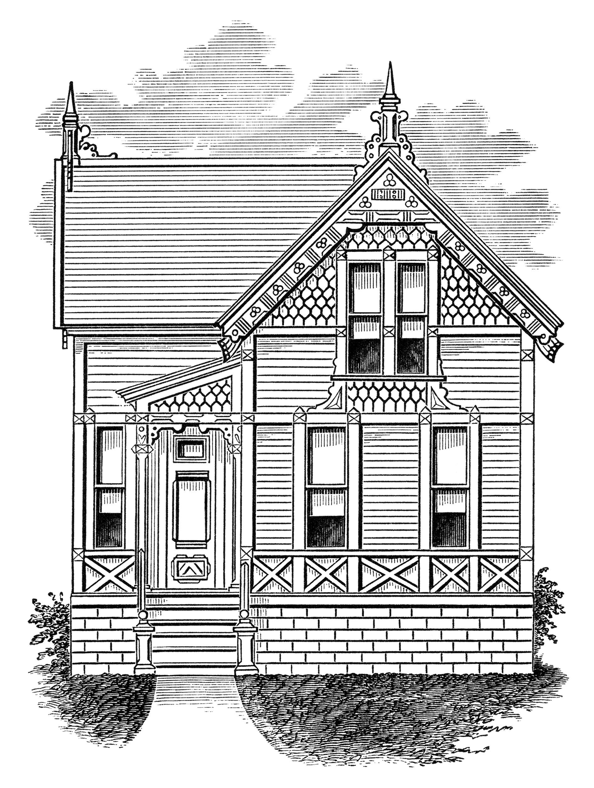 Vintage house clip art.