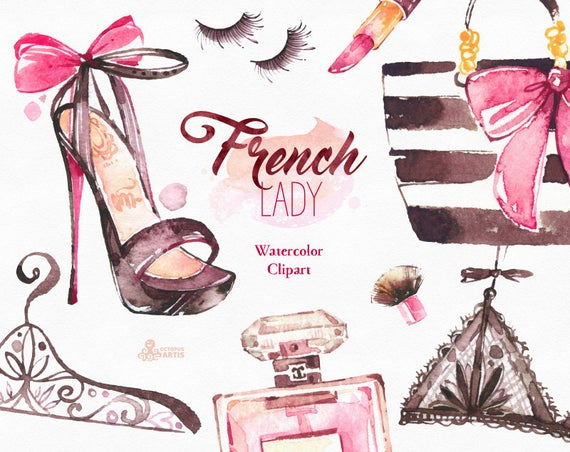 French Lady. Watercolor fashion Clipart, shoes, fashion, lipstick,  lingerie, parfume, dog, gift, Paris, nailpolish, bags, glam, stickers.