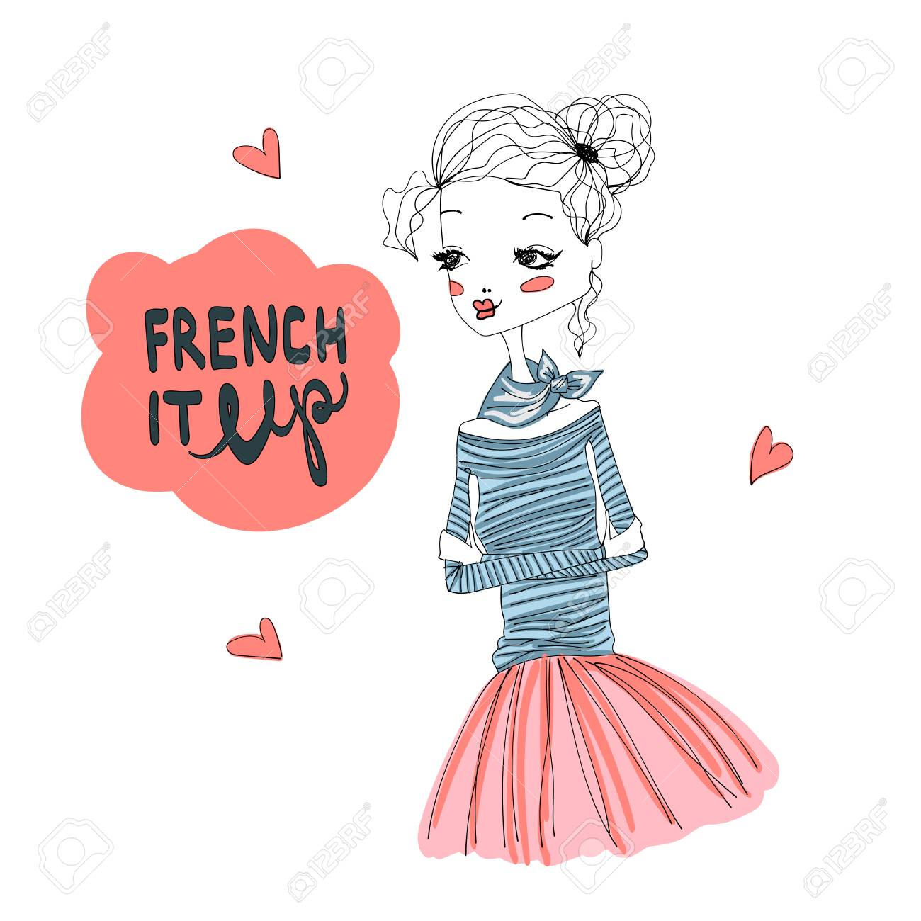 French It Up Fashion Illustration with a Cute French Girl Wearing...
