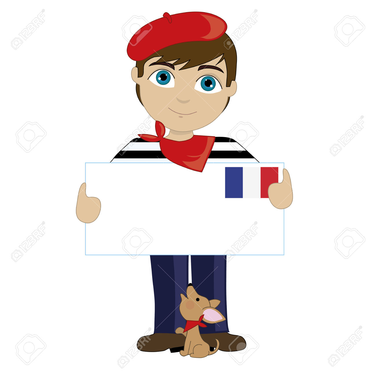French Man With Sign Clipart.