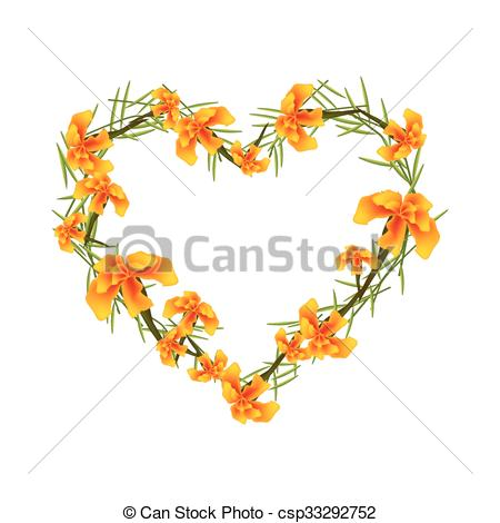 Clipart Vector of Orange French Marigold Flowers in A Heart Shape.