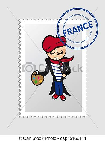 Vector Clip Art of French cartoon person postal stamp.