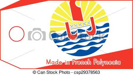 Clip Art Vector of French Polynesia flag on price tag with word.