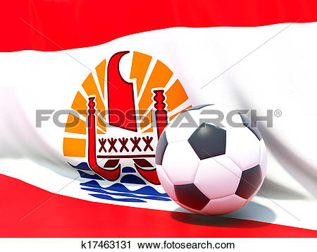 Clipart of Flag of french polynesia with football in front of it.