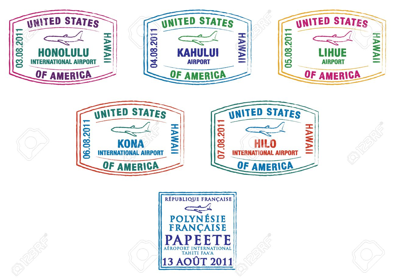 Hawaii And French Polynesia Passport Stamps Royalty Free Cliparts.