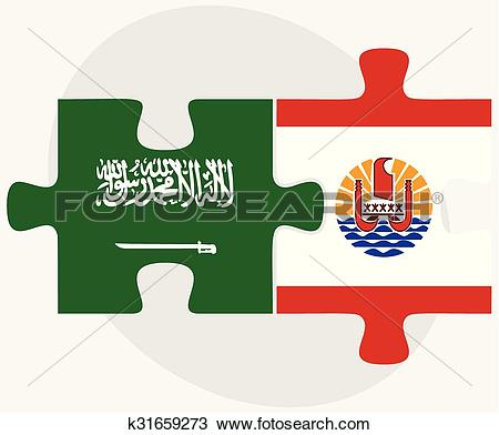 Clipart of Saudi Arabia and French Polynesia Flags k31659273.