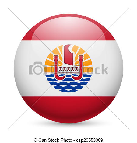 Clip Art Vector of Round glossy icon of French Polynesia.
