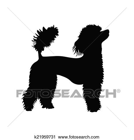 French poodle vector silhouette Clipart.