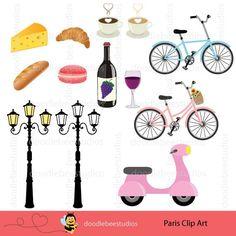 Paris Clip Art Clipart, French Clipart Clip Art with Eiffel Tower.
