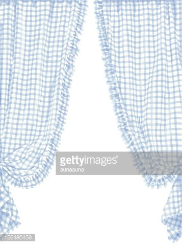 Blue checked curtain in French provincial style Clipart.