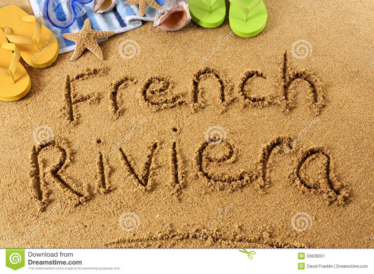 French Riviera Beach Writing Stock Photo.