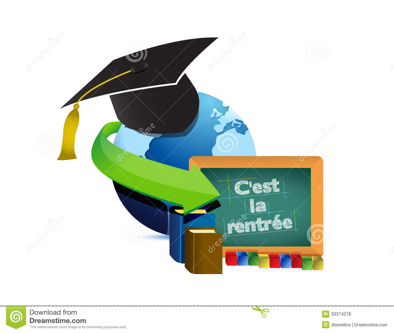 Back To School Concept French Stock Illustrations.