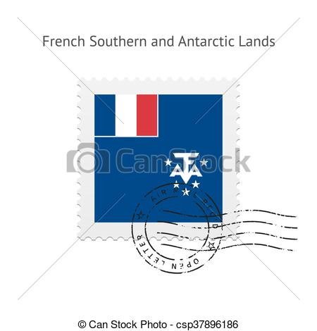 Vector of French Southern and Antarctic Lands Flag Postage Stamp.