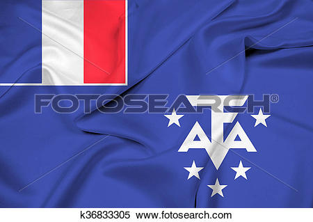 Stock Illustration of Waving Flag of the French Southern and.