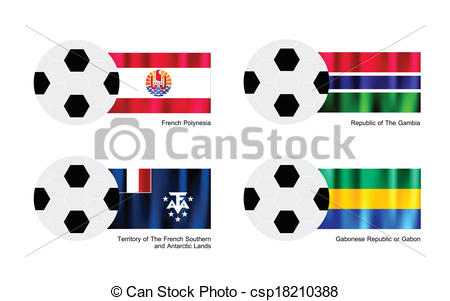Vector of Football with French Polynesia, Gambia, French Southern.