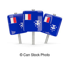 Flag pin of french southern territories Illustrations and Clip Art.