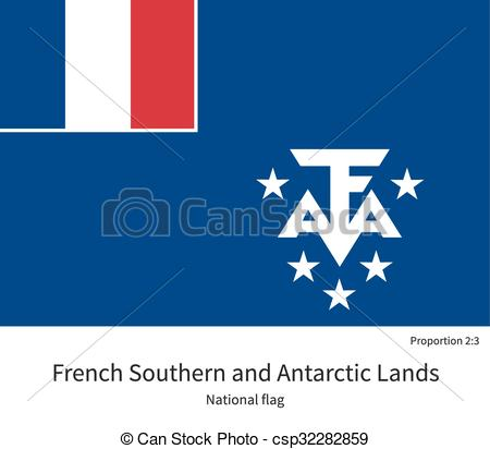 Clipart Vector of National flag of French Southern and Antarctic.