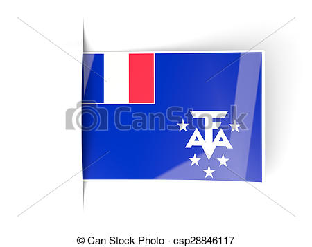 Clipart of Square label with flag of french southern territories.