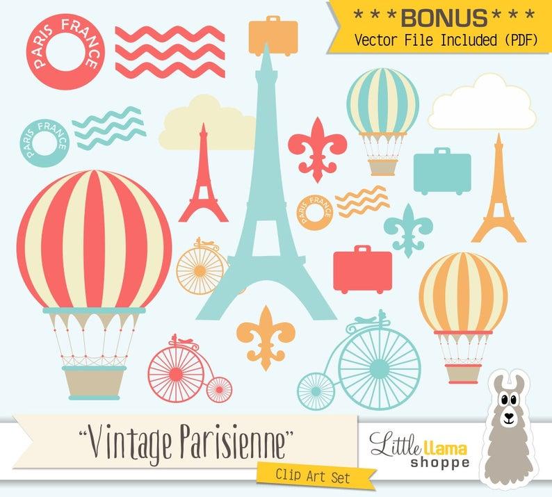 Paris Clip Art, France Clipart, Vintage Paris Illustrations, Hot Air  Balloon Clipart, European ClipArt, Commercial Use, PNG and PDF Vector.