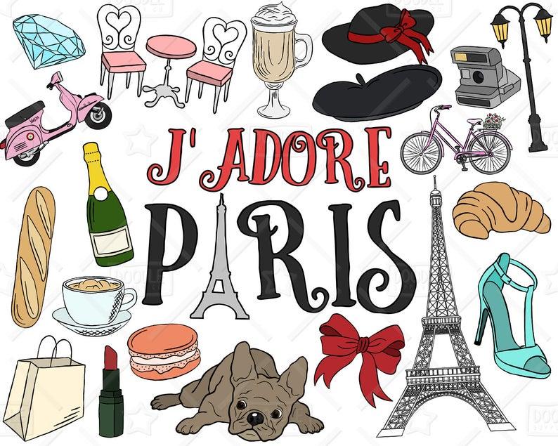 Paris Clipart Vector Pack, Parisian Themed Clipart, Eiffel Tower Clipart,  Tourist Clipart, France Clipart, Paris Stickers, SVG, PNG file.