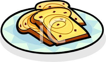 Royalty Free Clipart Image: Three Slices Of Cinnamon Raisin French Toast.