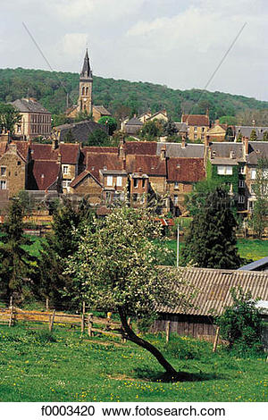 Stock Photography of Europe, France, French, French village, house.