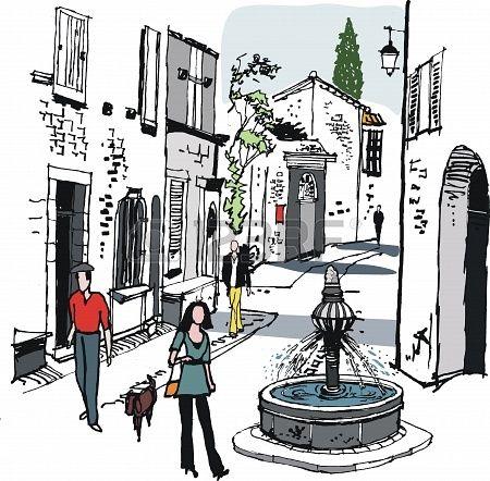 illustration of old village, Provence, France.
