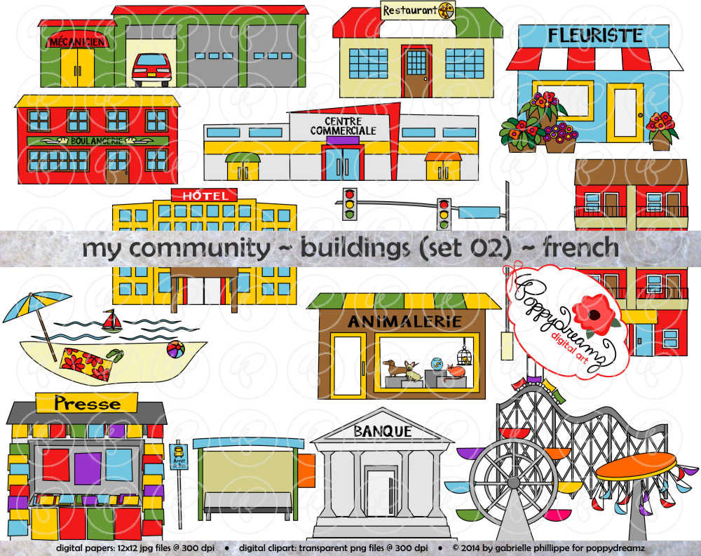 My Community Buildings Set 02 in FRENCH Clipart: 300 dpi.