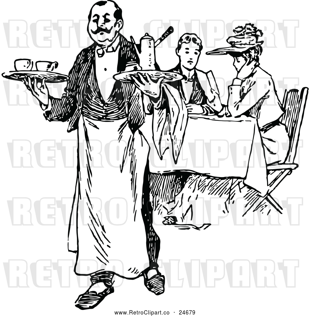 Vector Clip Art of a Retro French Waiter and Diners by.
