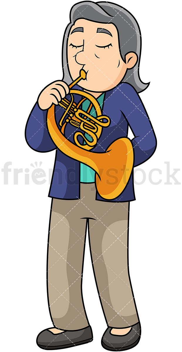 Old Woman Playing The French Horn.