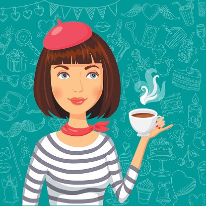 Frenchwoman With Cup of Coffee premium clipart.