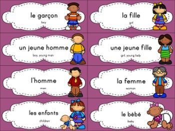 French Vocabulary Words with English Translations and Clipart.